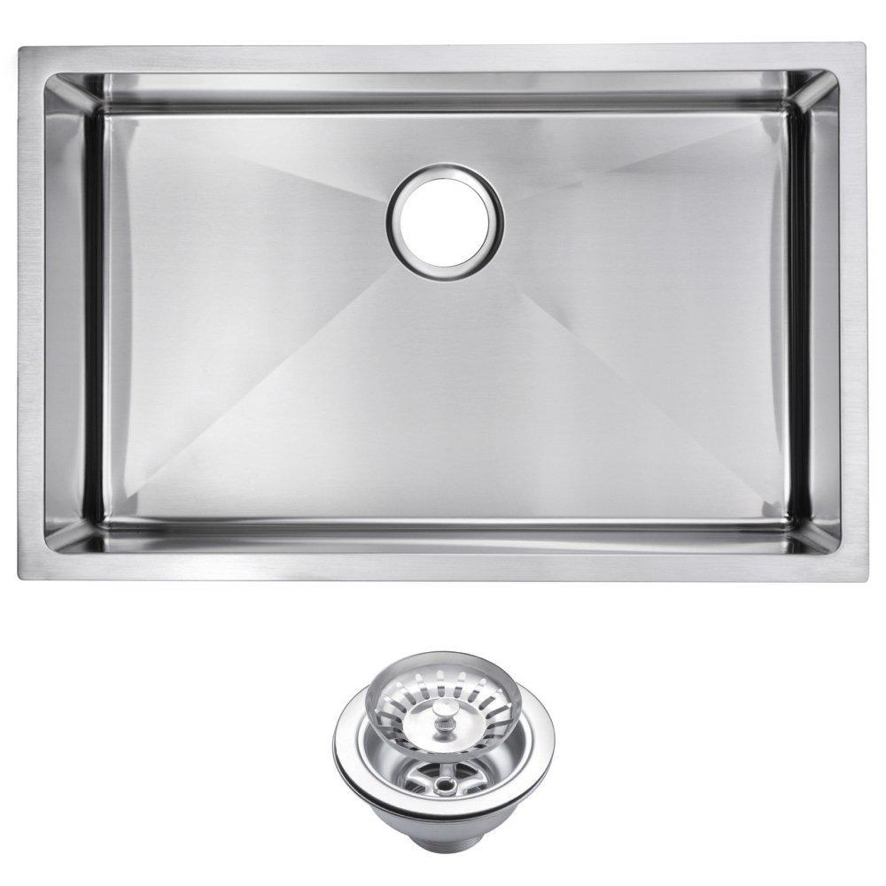 "30"" X 19"" 15 mm Corner Radius Single Bowl Stainless Steel Hand Made Undermount Kitchen Sink With Dra"
