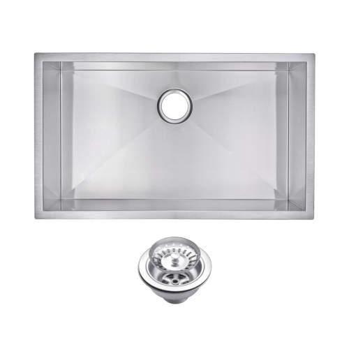 "32"" X 19"" Zero Radius Single Bowl Stainless Steel Hand Made Undermount Kitchen Sink With Drain & S"