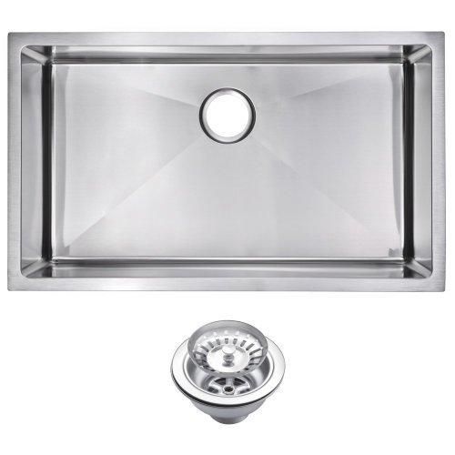 "32"" X 19"" 15 mm Corner Radius Single Bowl Stainless Steel Hand Made Undermount Kitchen Sink With Dra"