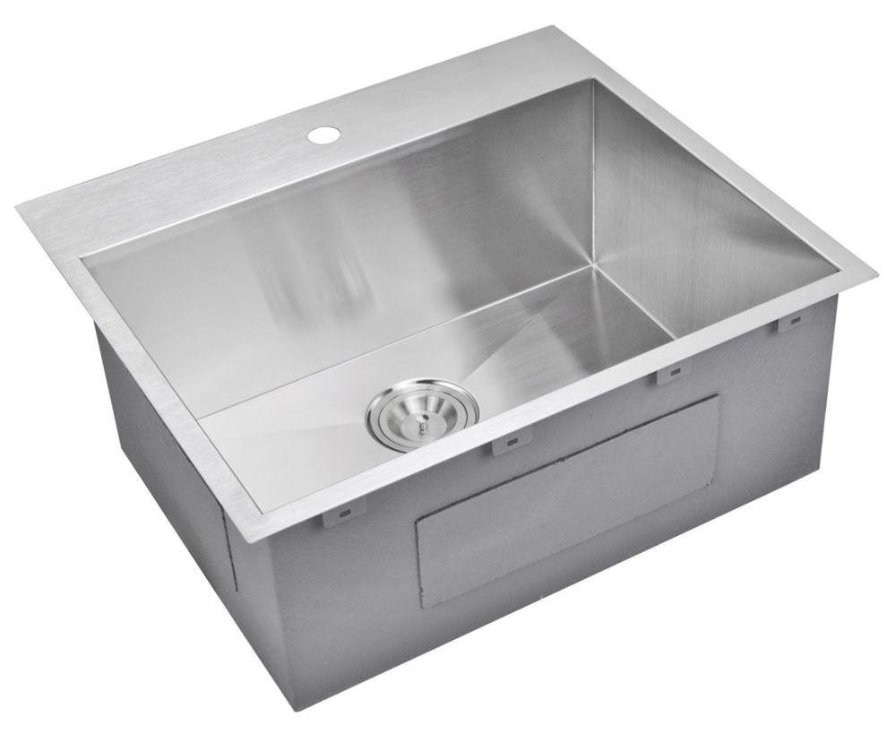 """25"""" X 22"""" Zero Radius Single Bowl Stainless Steel Hand Made Drop In Kitchen Sink, Premium Scratch Res"""