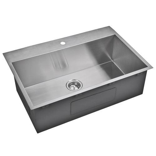 """33"""" X 22"""" Zero Radius Single Bowl Stainless Steel Hand Made Drop In Kitchen Sink, Premium Scratch Res"""