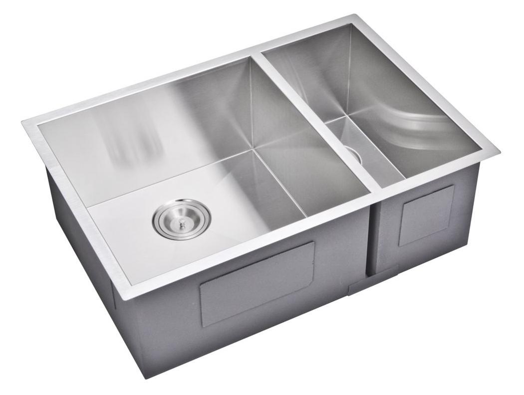 "29"" X 20"" Zero Radius 70/30 Double Bowl Stainless Steel Hand Made Undermount Kitchen Sink, Premium Sc"