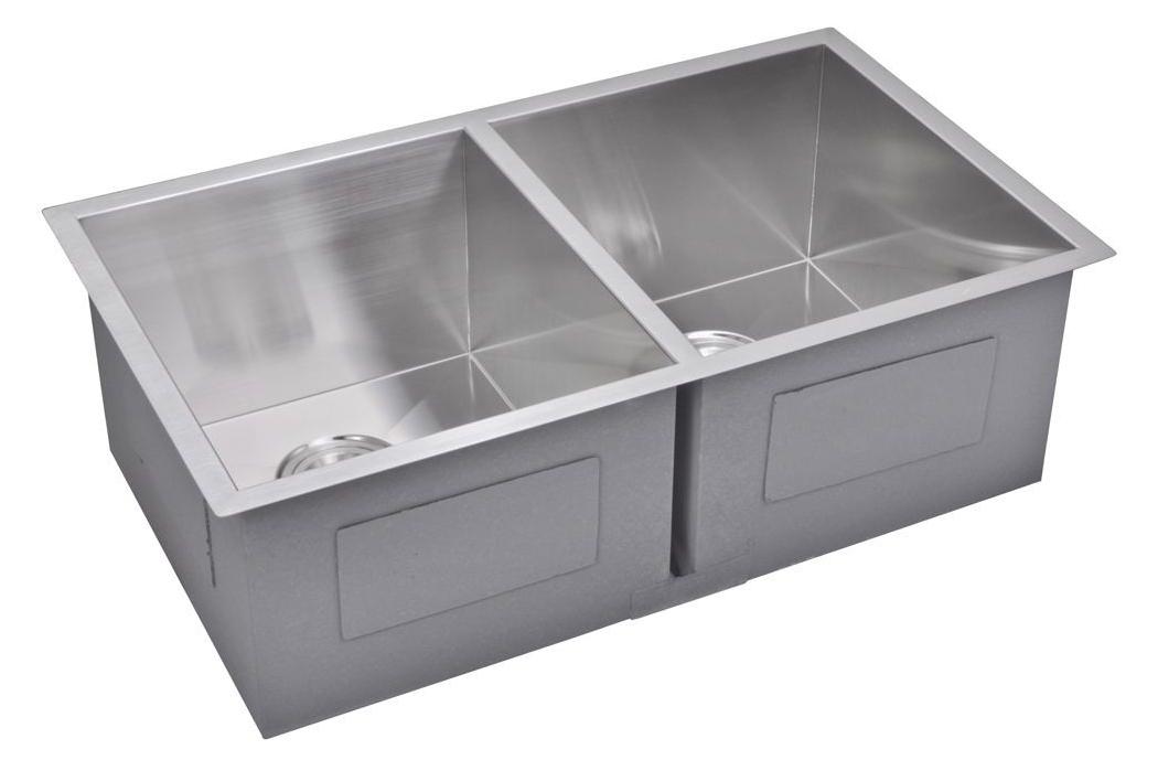 "31"" X 18"" Zero Radius 50/50 Double Bowl Stainless Steel Hand Made Undermount Kitchen Sink, Premium Sc"