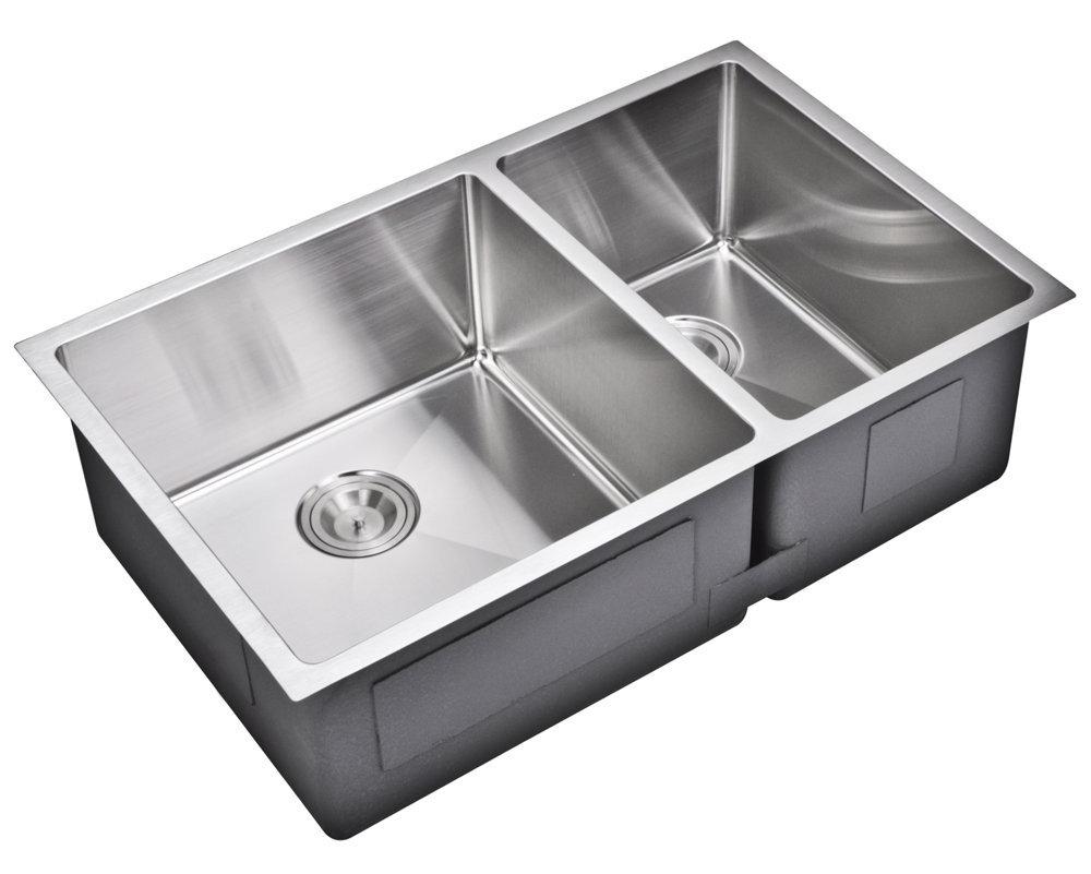 """33"""" X 20"""" 15 mm Corner Radius 50/50 Double Bowl Stainless Steel Hand Made Undermount Kitchen Sink, Pr"""