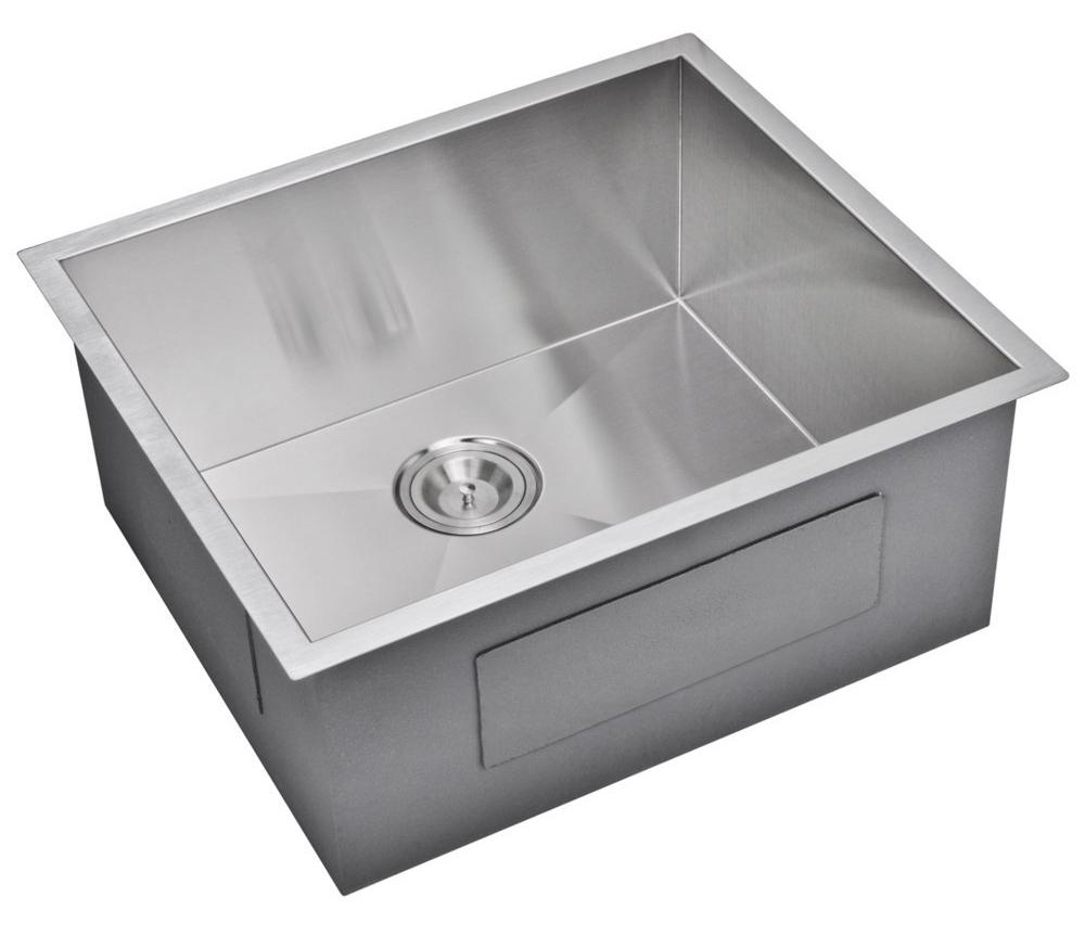 """23"""" X 20"""" Zero Radius Single Bowl Stainless Steel Hand Made Undermount Kitchen Sink, Premium Scratch"""