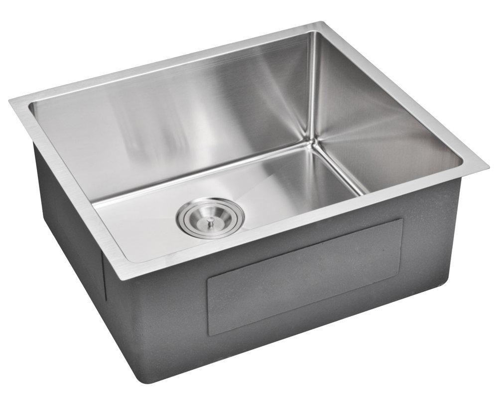 """23"""" X 20"""" 15 mm Corner Radius Single Bowl Stainless Steel Hand Made Undermount Kitchen Sink, Premium"""