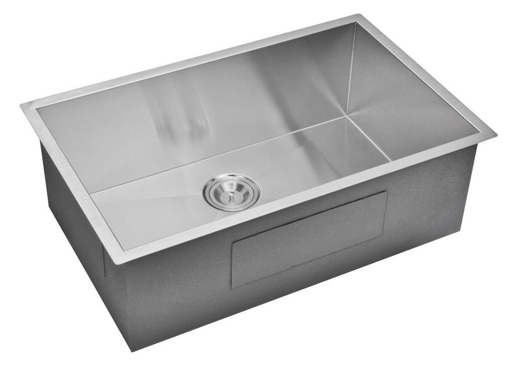 """30"""" X 19"""" Zero Radius Single Bowl Stainless Steel Hand Made Undermount Kitchen Sink, Premium Scratch"""