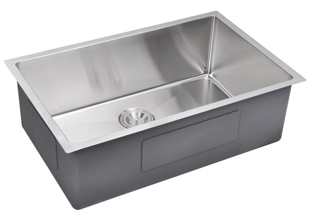 """30"""" X 19"""" 15 mm Corner Radius Single Bowl Stainless Steel Hand Made Undermount Kitchen Sink, Premium"""