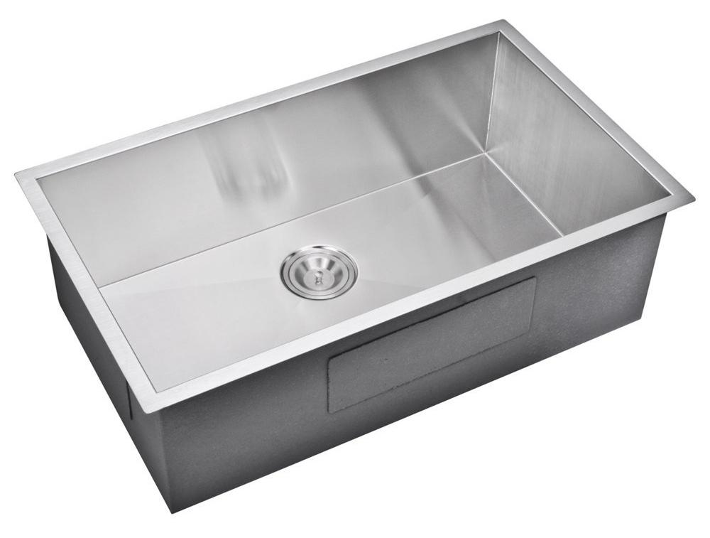"""32"""" X 19"""" Zero Radius Single Bowl Stainless Steel Hand Made Undermount Kitchen Sink, Premium Scratch"""
