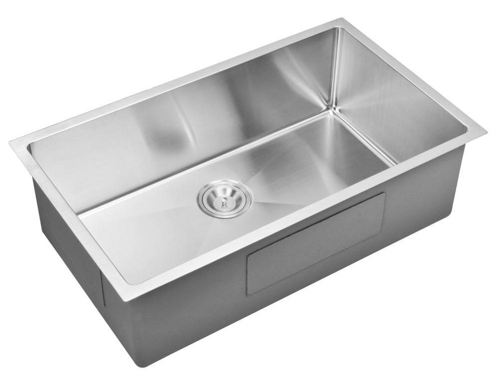 """32"""" X 19"""" 15 mm Corner Radius Single Bowl Stainless Steel Hand Made Undermount Kitchen Sink, Premium"""