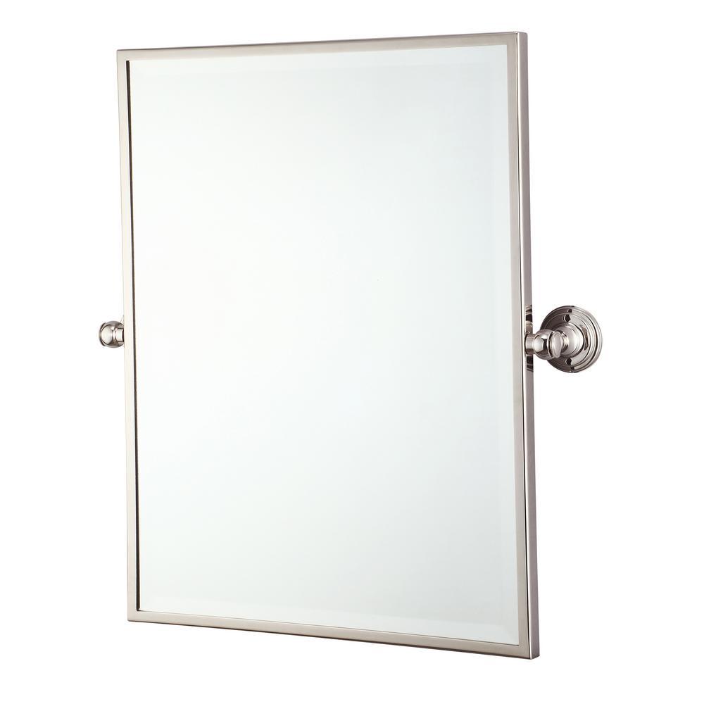 "Metal Retangular Mirror 18"" X 24"" In Polished Nickel Finish"