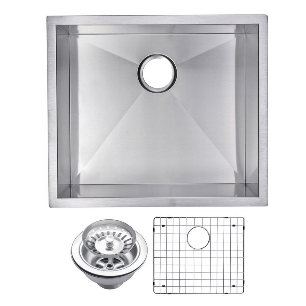 23 Inch X 20 Inch Zero Radius Single Bowl Stainless Steel Hand Made Undermount Kitchen Sink With Drain, Strainer, And Bottom Gri