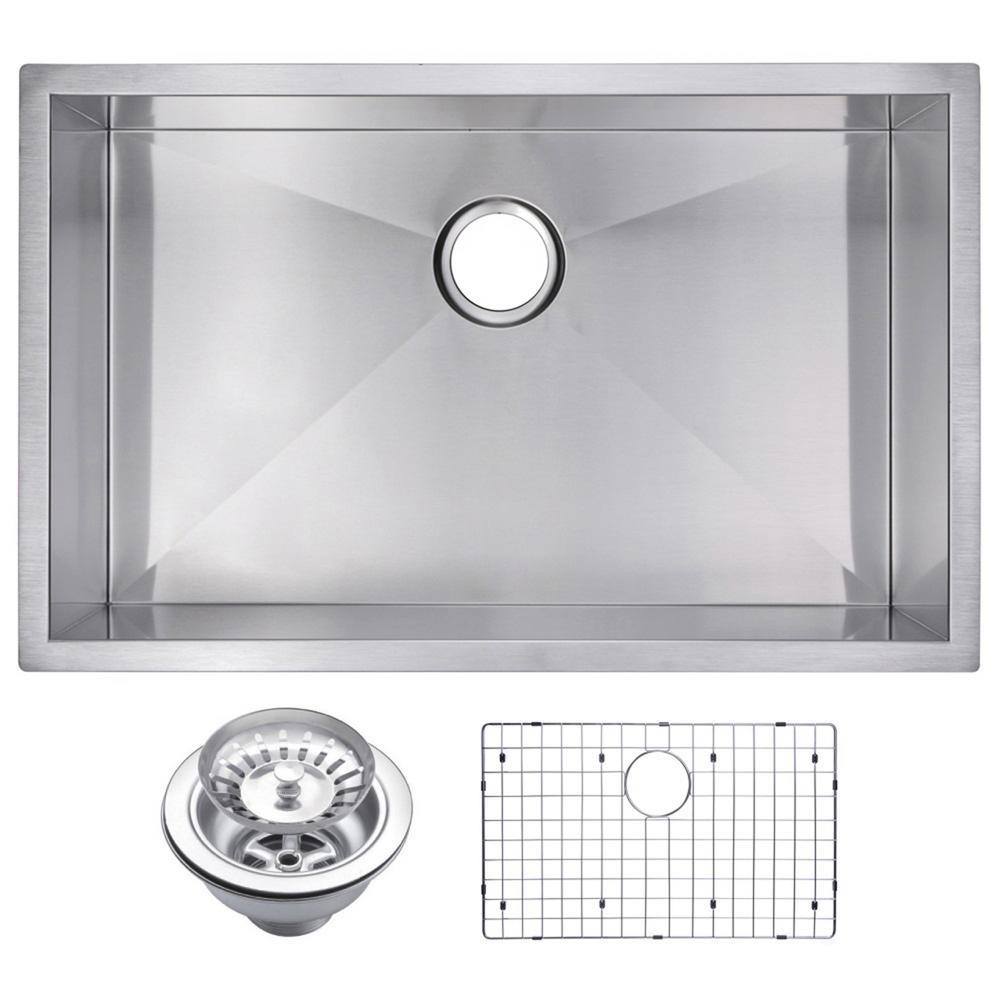 30 Inch X 19 Inch Zero Radius Single Bowl Stainless Steel Hand Made Undermount Kitchen Sink With Drain, Strainer, And Bottom Gri