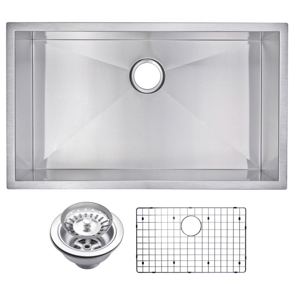 32 Inch X 19 Inch Zero Radius Single Bowl Stainless Steel Hand Made Undermount Kitchen Sink With Drain, Strainer, And Bottom Gri
