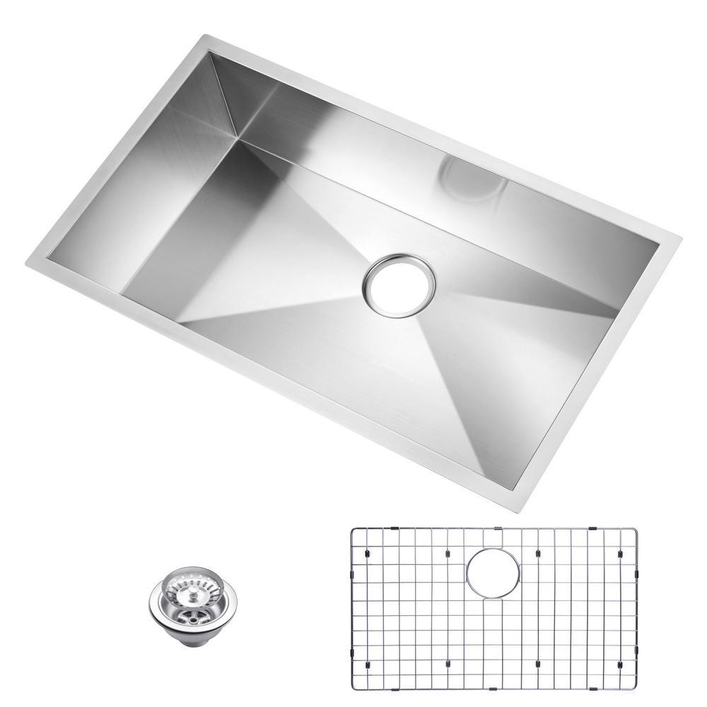 33 Inch X 19 Inch Zero Radius Single Bowl Stainless Steel Hand Made Undermount Kitchen Sink With Drain, Strainer, And Bottom Gri