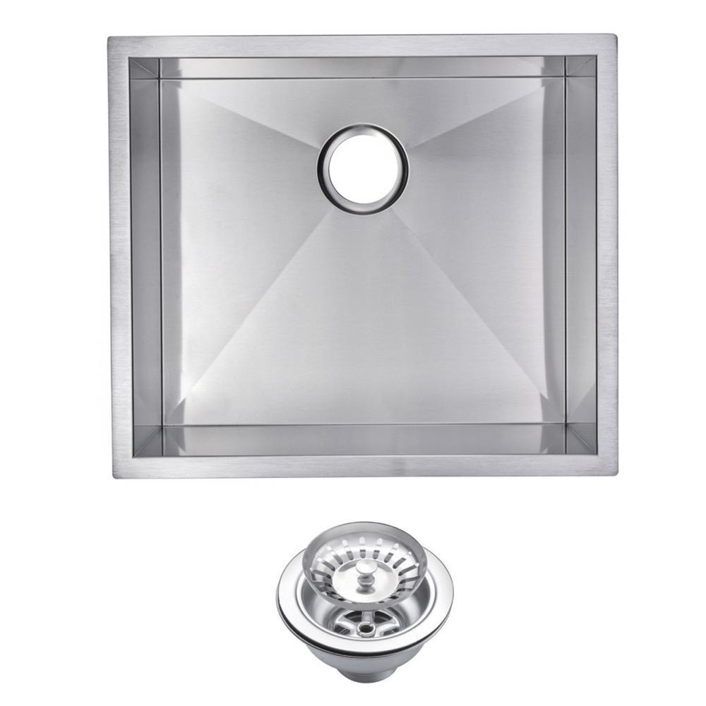 23 Inch X 20 Inch Zero Radius Single Bowl Stainless Steel Hand Made Undermount Kitchen Sink With Drain and Strainer
