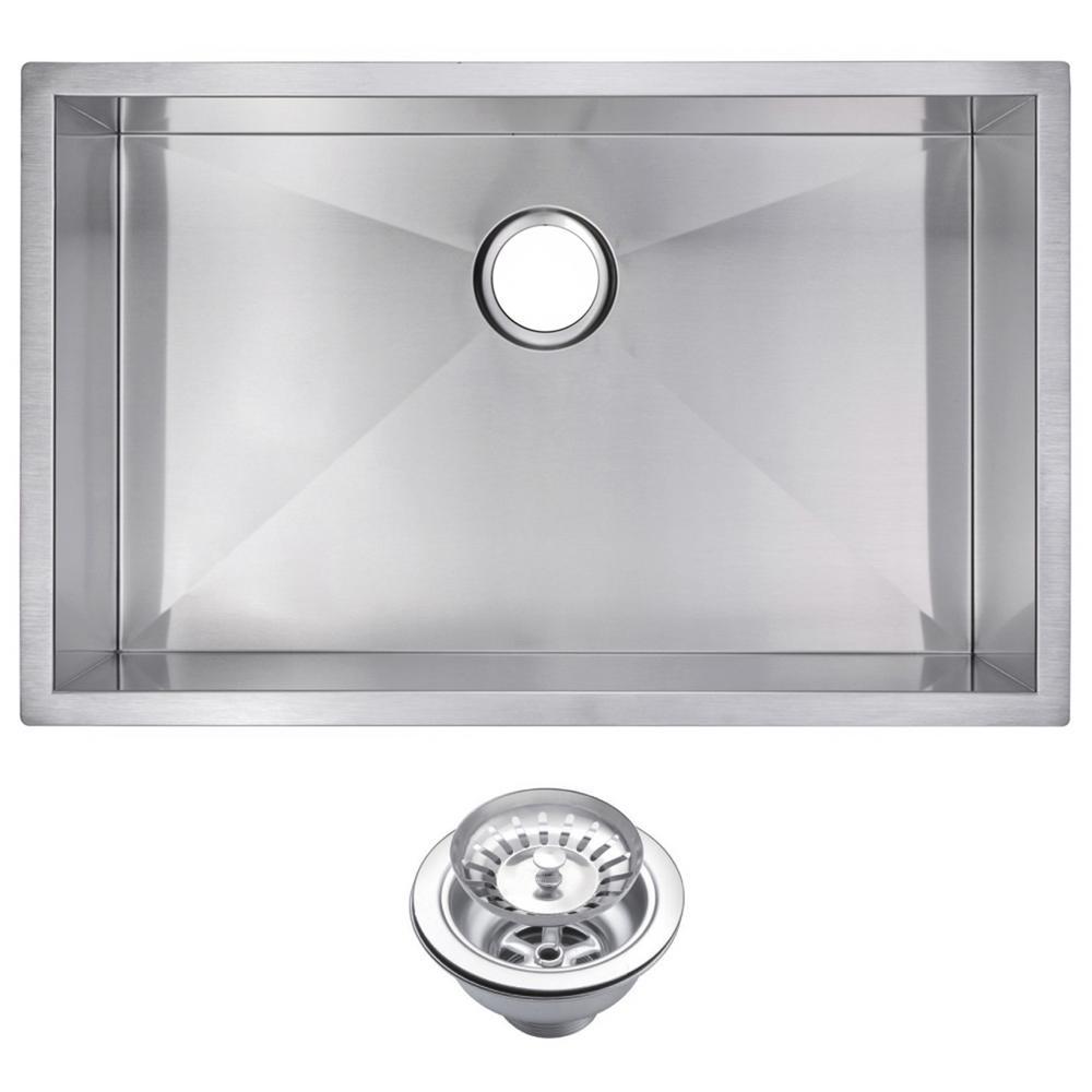 30 Inch X 19 Inch Zero Radius Single Bowl Stainless Steel Hand Made Undermount Kitchen Sink With Drain and Strainer