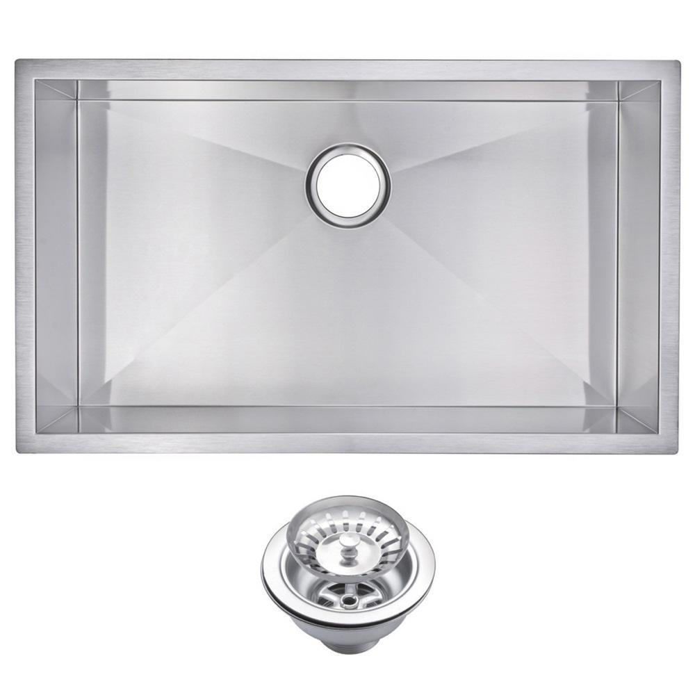 32 Inch X 19 Inch Zero Radius Single Bowl Stainless Steel Hand Made Undermount Kitchen Sink With Drain and Strainer