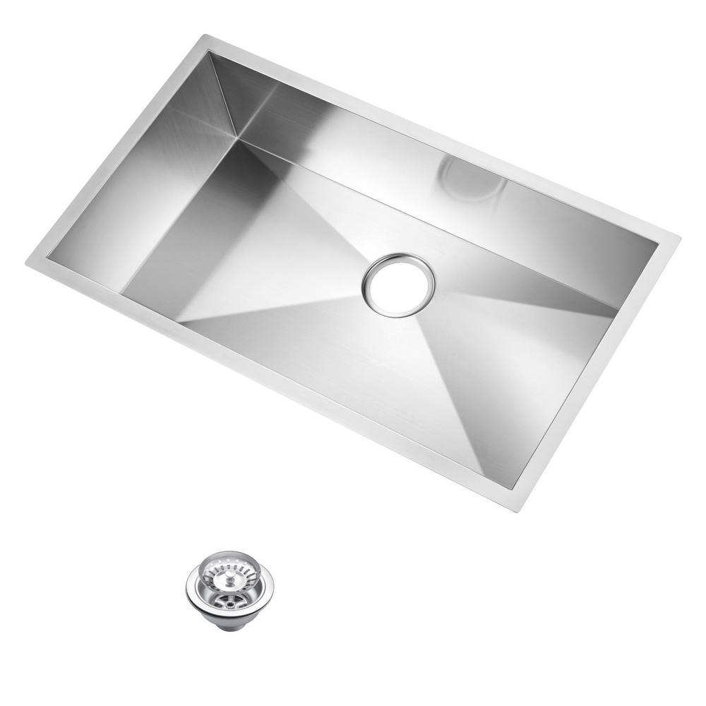 33 Inch X 19 Inch Zero Radius Single Bowl Stainless Steel Hand Made Undermount Kitchen Sink With Drain and Strainer