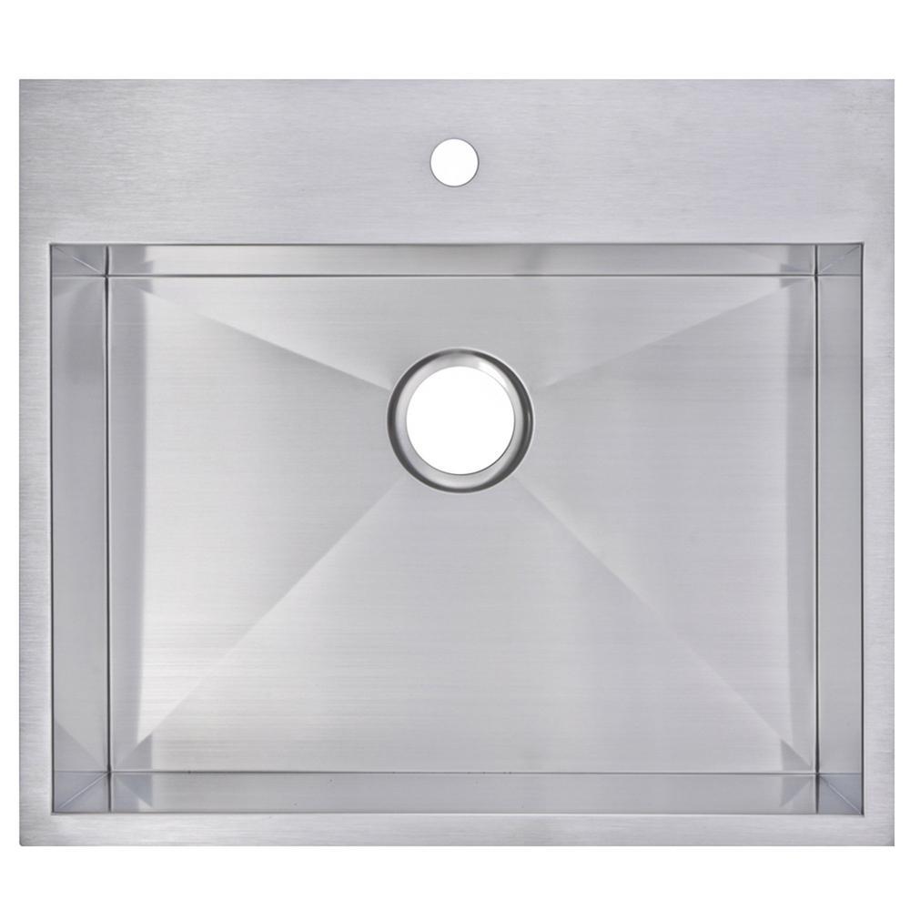25 Inch X 22 Inch Zero Radius Single Bowl Stainless Steel Hand Made Drop In Kitchen Sink