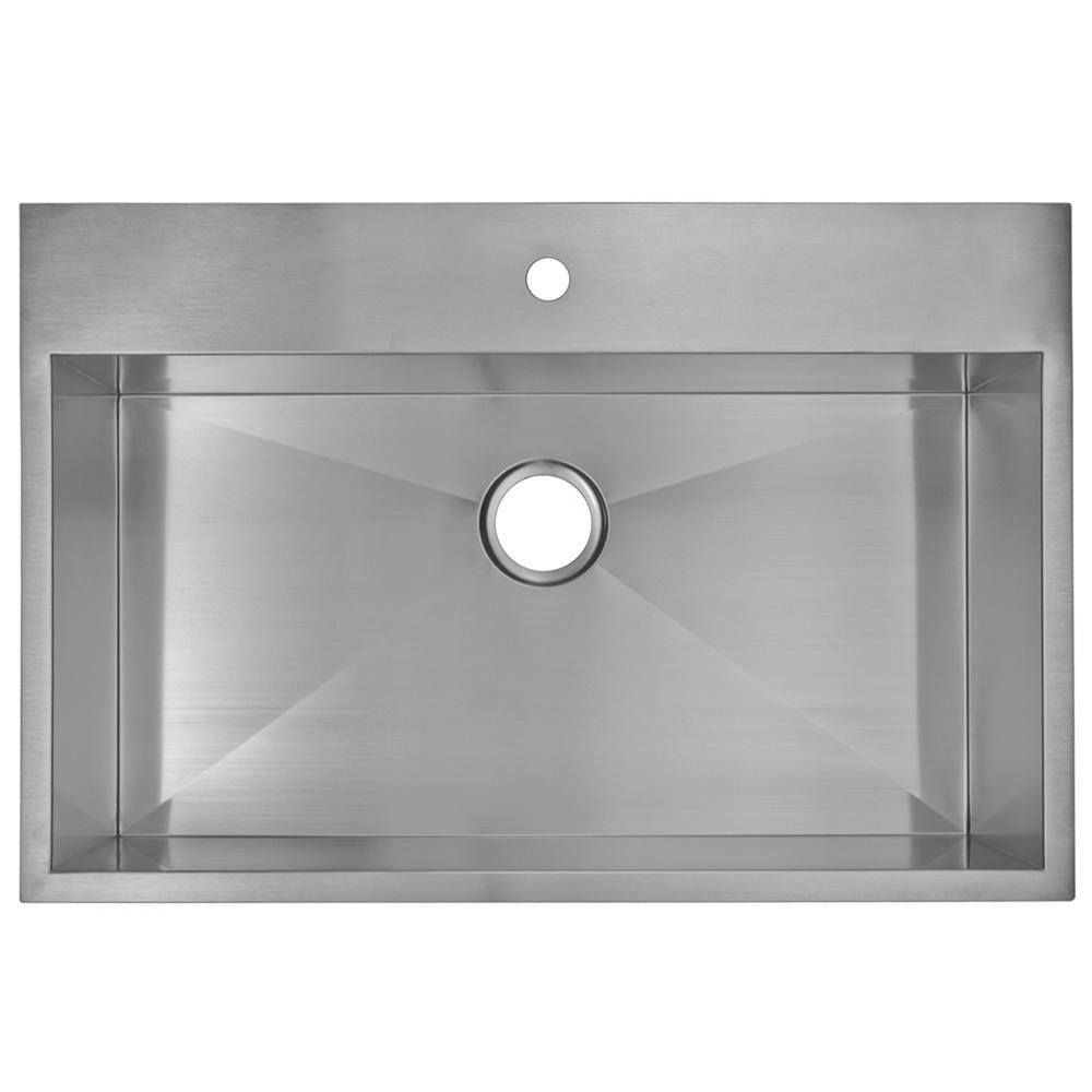 33 Inch X 22 Inch Zero Radius Single Bowl Stainless Steel Hand Made Drop In Kitchen Sink