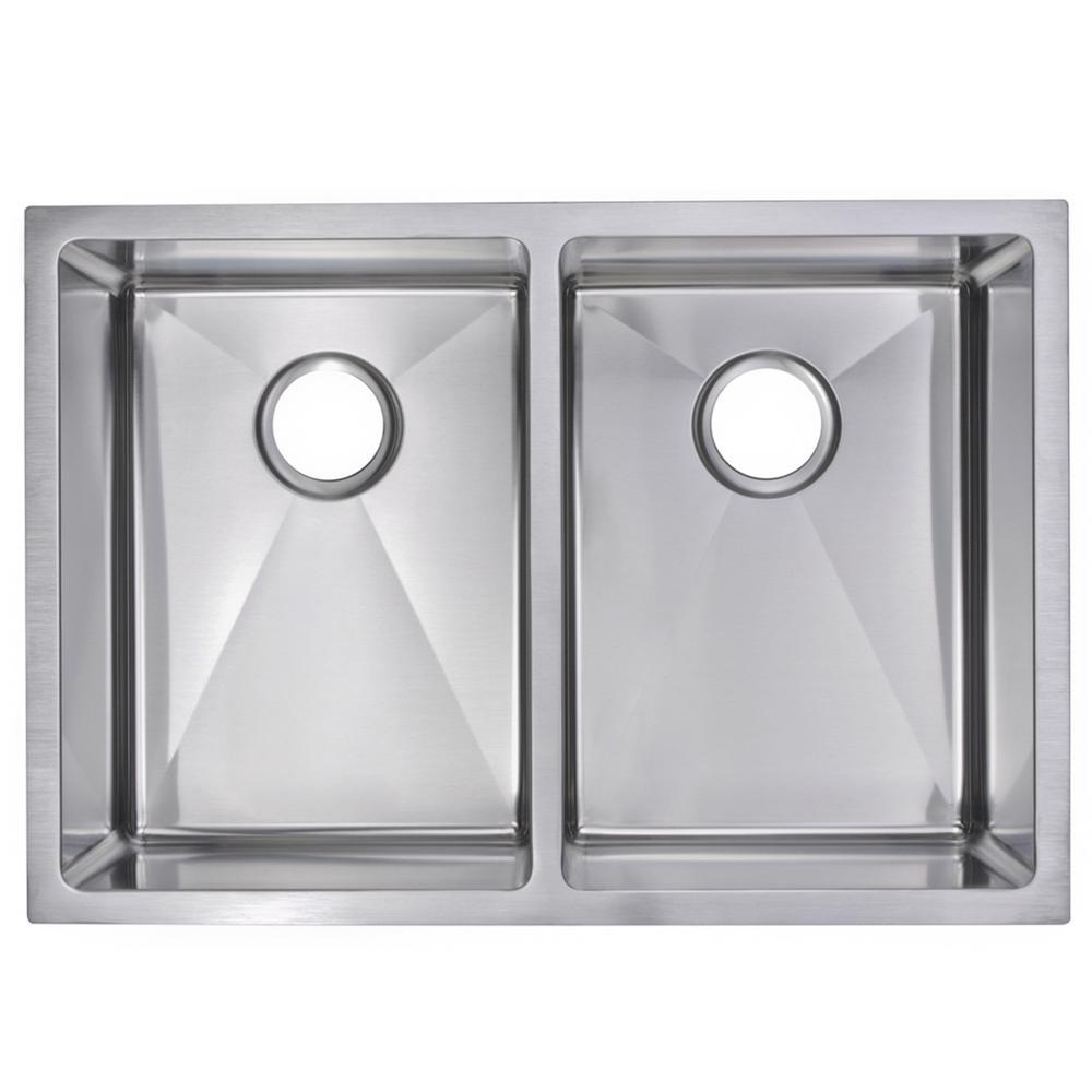 29 Inch X 20 Inch 15mm Corner Radius 50/50 Double Bowl Stainless Steel Hand Made Undermount Kitchen Sink