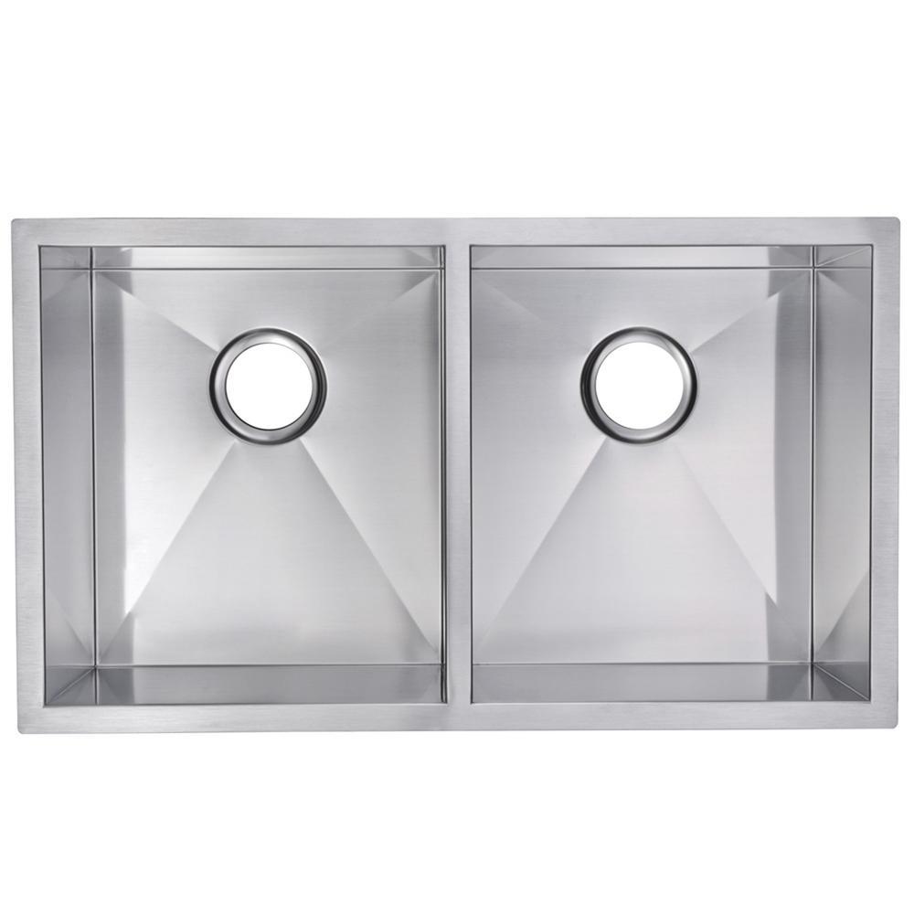 31 Inch X 18 Inch Zero Radius 50/50 Double Bowl Stainless Steel Hand Made Undermount Kitchen Sink