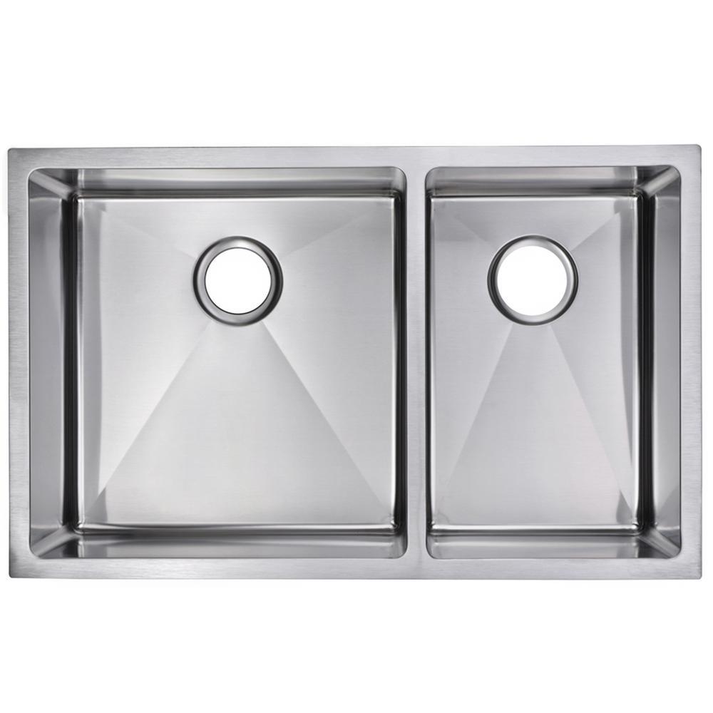 33 Inch X 20 Inch 15mm Corner Radius 60/40 Double Bowl Stainless Steel Hand Made Undermount Kitchen Sink
