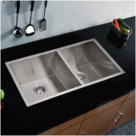 33 Inch X 20 Inch Zero Radius 60/40 Double Bowl Stainless Steel Hand Made Undermount Kitchen Sink
