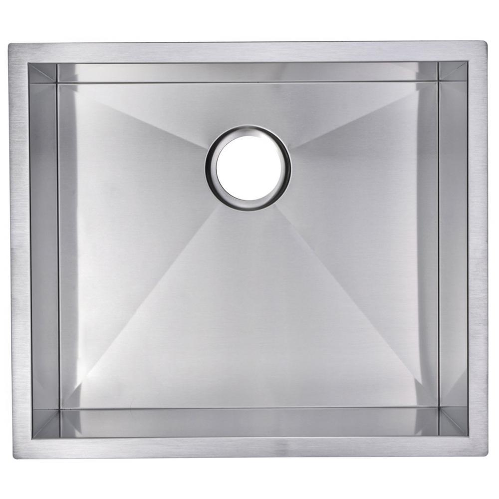 23 Inch X 20 Inch Zero Radius Single Bowl Stainless Steel Hand Made Undermount Kitchen Sink