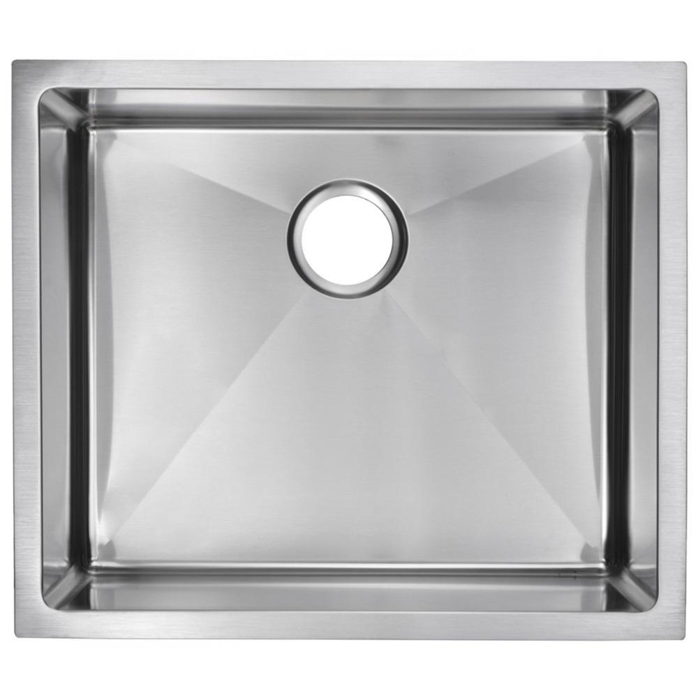 23 Inch X 20 Inch 15mm Corner Radius Single Bowl Stainless Steel Hand Made Undermount Kitchen Sink