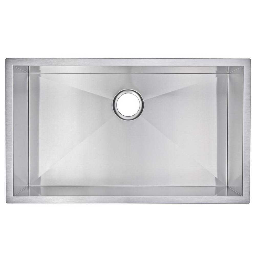 32 Inch X 19 Inch Zero Radius Single Bowl Stainless Steel Hand Made Undermount Kitchen Sink