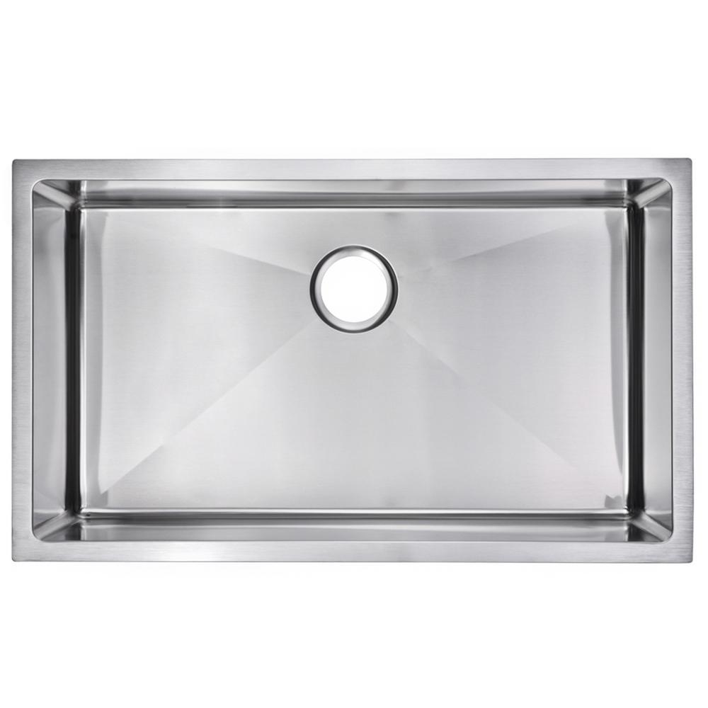 32 Inch X 19 Inch 15mm Corner Radius Single Bowl Stainless Steel Hand Made Undermount Kitchen Sink
