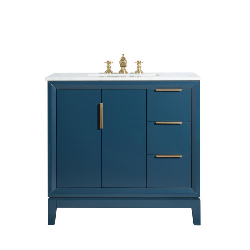 Elizabeth 36-Inch Single Sink Carrara White Marble Vanity In Monarch Blue
