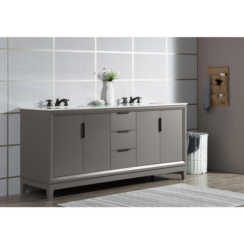 Elizabeth 72-Inch Double Sink Carrara White Marble Vanity In Cashmere Grey
