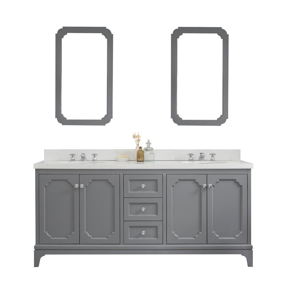 Queen 72-Inch Double Sink Quartz Carrara Vanity In Cashmere Grey