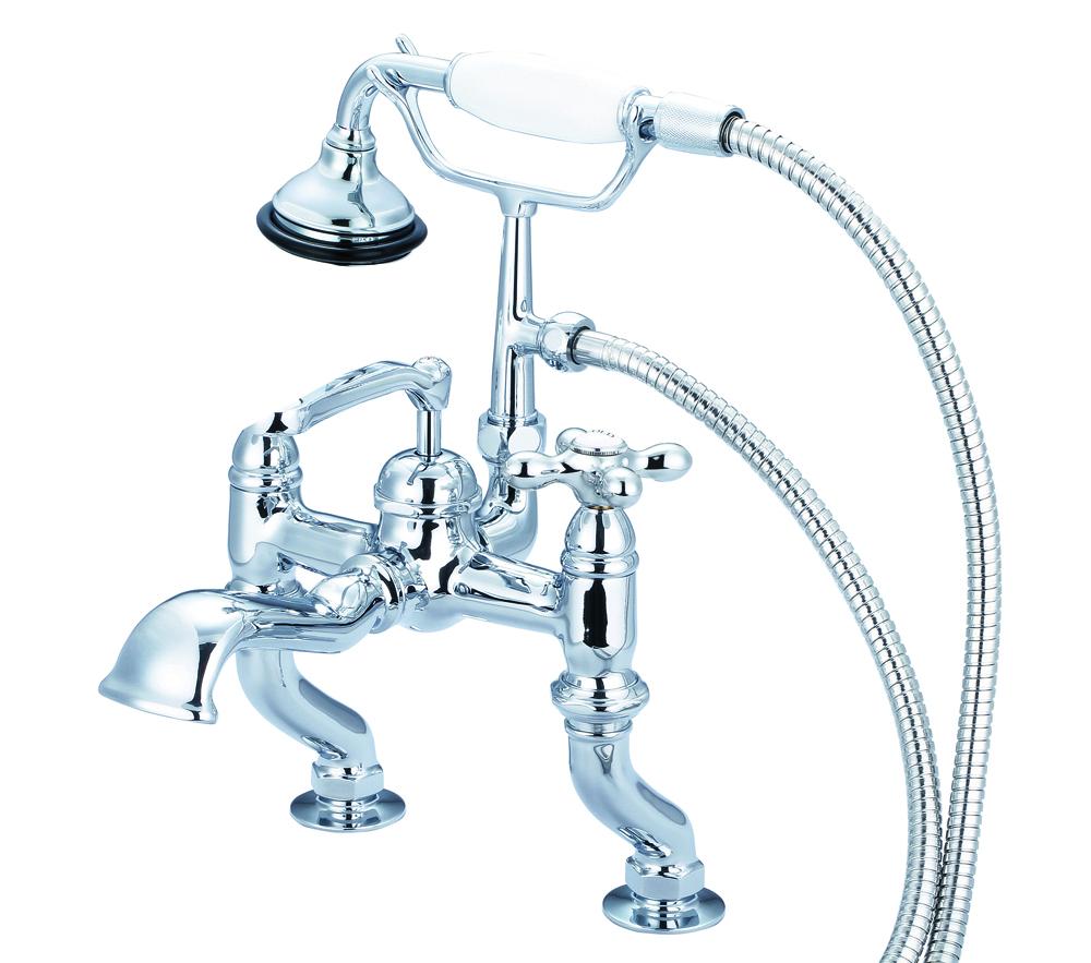Adjustable Center Deck Mount Tub Faucet With Handheld Shower, Hand Polished, Richly Tr