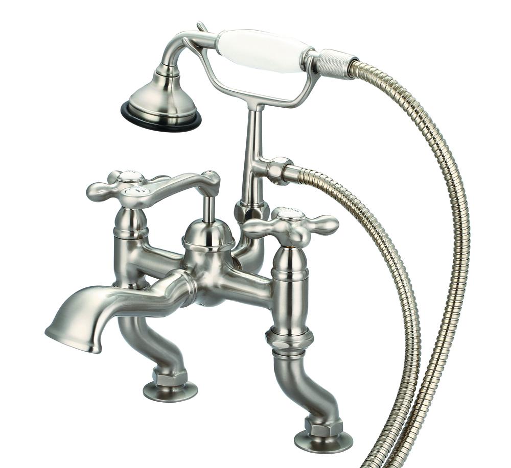 Adjustable Center Deck Mount Tub Faucet With Handheld Shower, Brushed Nickel