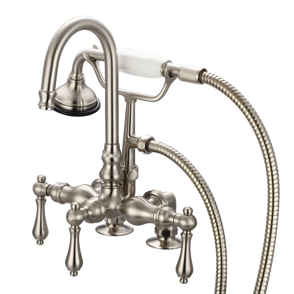 """3-3/8"""" Center Deck Mount Tub Faucet With Gooseneck Spout, 2"""" Risers & Handheld Shower,"""