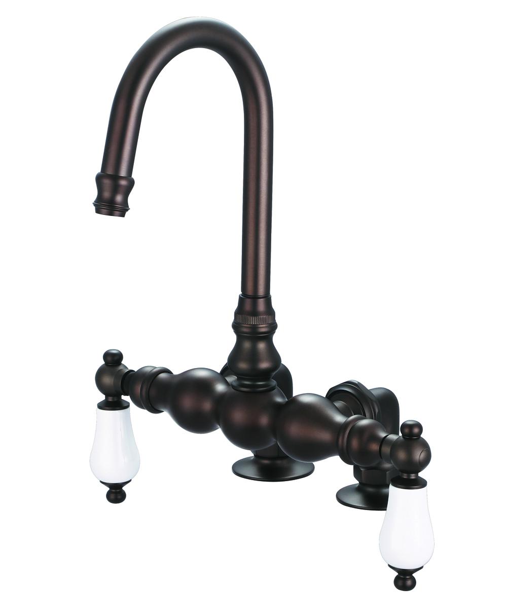 """3-3/8"""" Center Deck Mount Tub Faucet With Gooseneck Spout & 2"""" Risers, Oil Rubbed Bronz"""