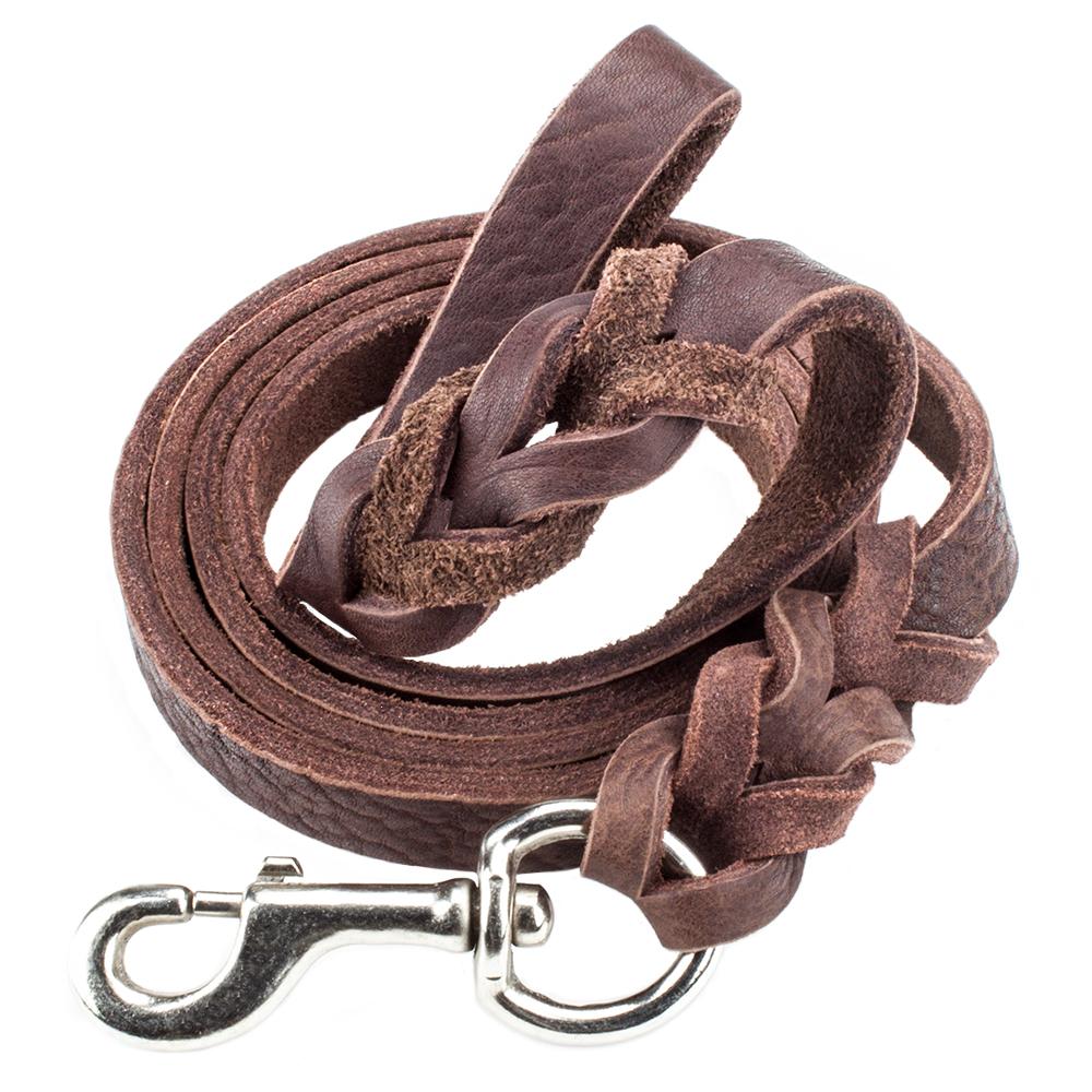 6-foot Braided Leather Dog Leash