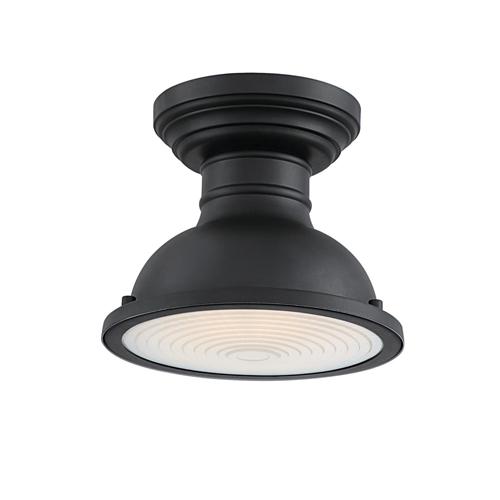 Westinghouse Lighting Orson 9-Inch One-Light Outdoor Semi-Flush Mount Ceiling Fixture, Dark Sky Friendly, Textured Black Finish