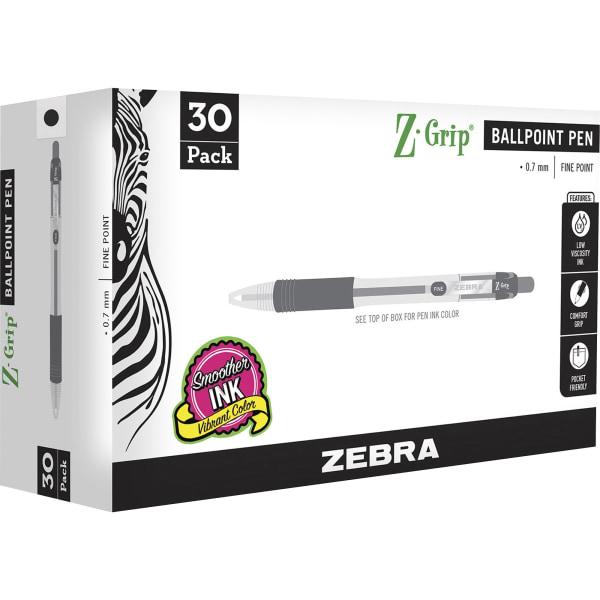 Z-Grip Ballpoint Pen, Retractable, Medium 0.7 mm, Black Ink, Black Tinted Barrel, 30/Pack