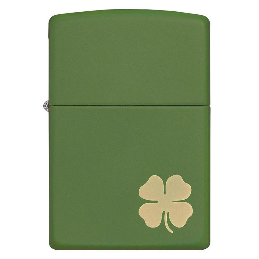 Zippo Windproof Lighter Lucky Cliover Design Green Matte Finish