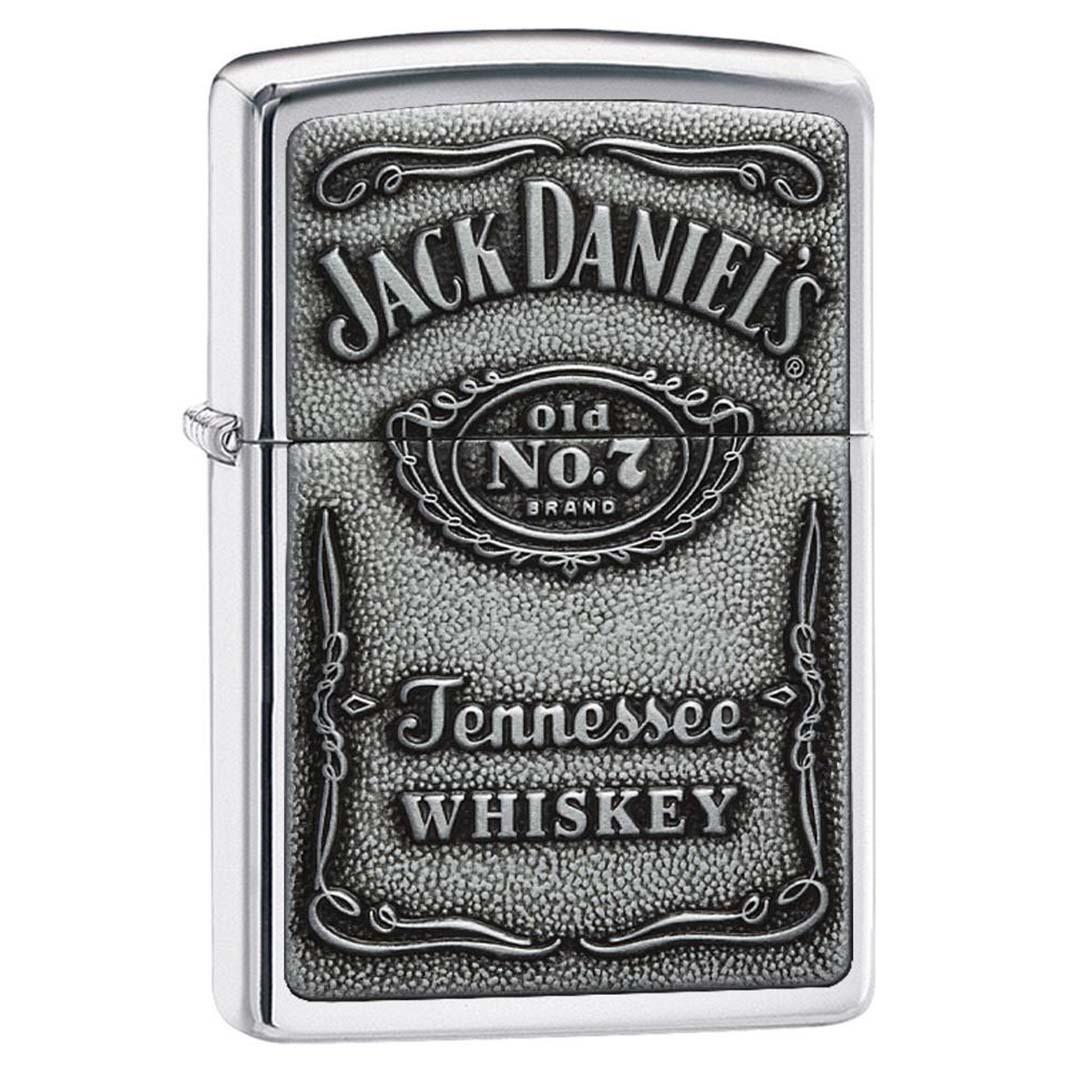 Zippo Windproof Lighter Jack Daniel's Label-Pewter Emblem High Polish Chrome
