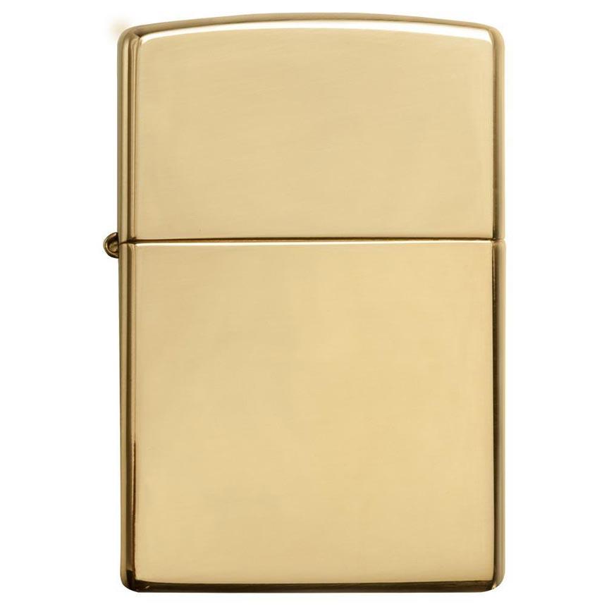 Zippo Windproof Lighter High Polish Brass w/o Solid Brass EngravedHigh Polish Brass