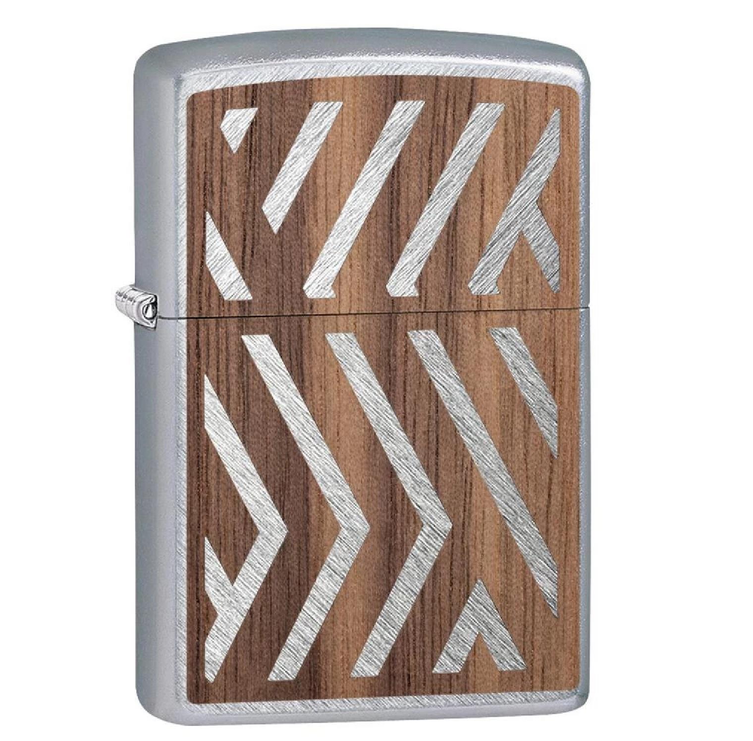 Zippo Brushed Chrome Woodchuck Walnut Herringbone Lighter