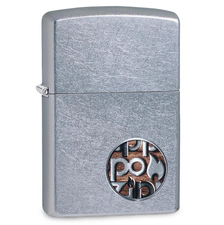 Zippo Street Chrome Zippo Button Logo Lighter