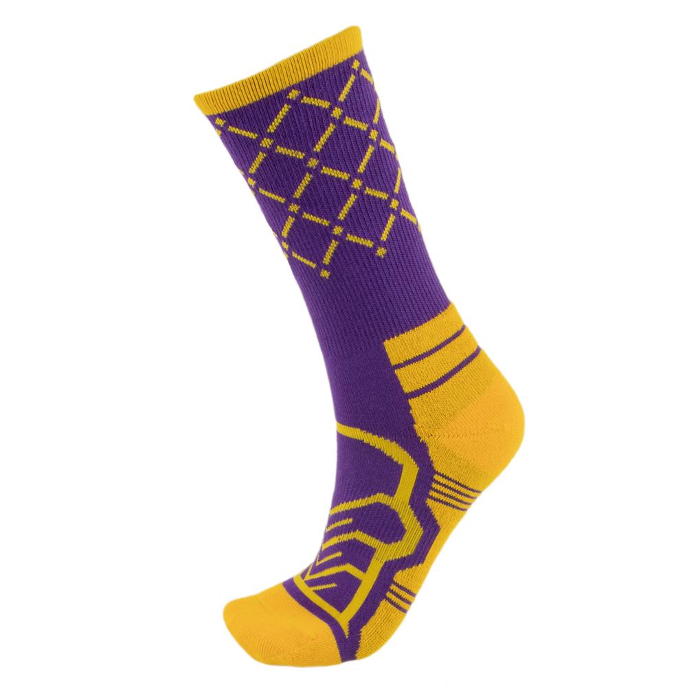 Medium Basketball Compression Socks, Purple/Yellow