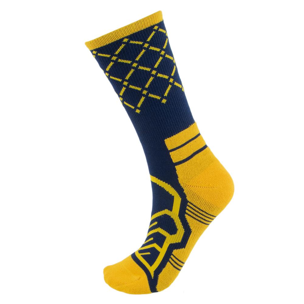 Medium Basketball Compression Socks, Navy/Yellow